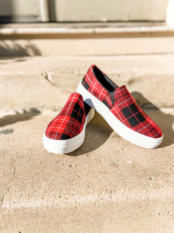 Red Plaid Slip-on Sneakers