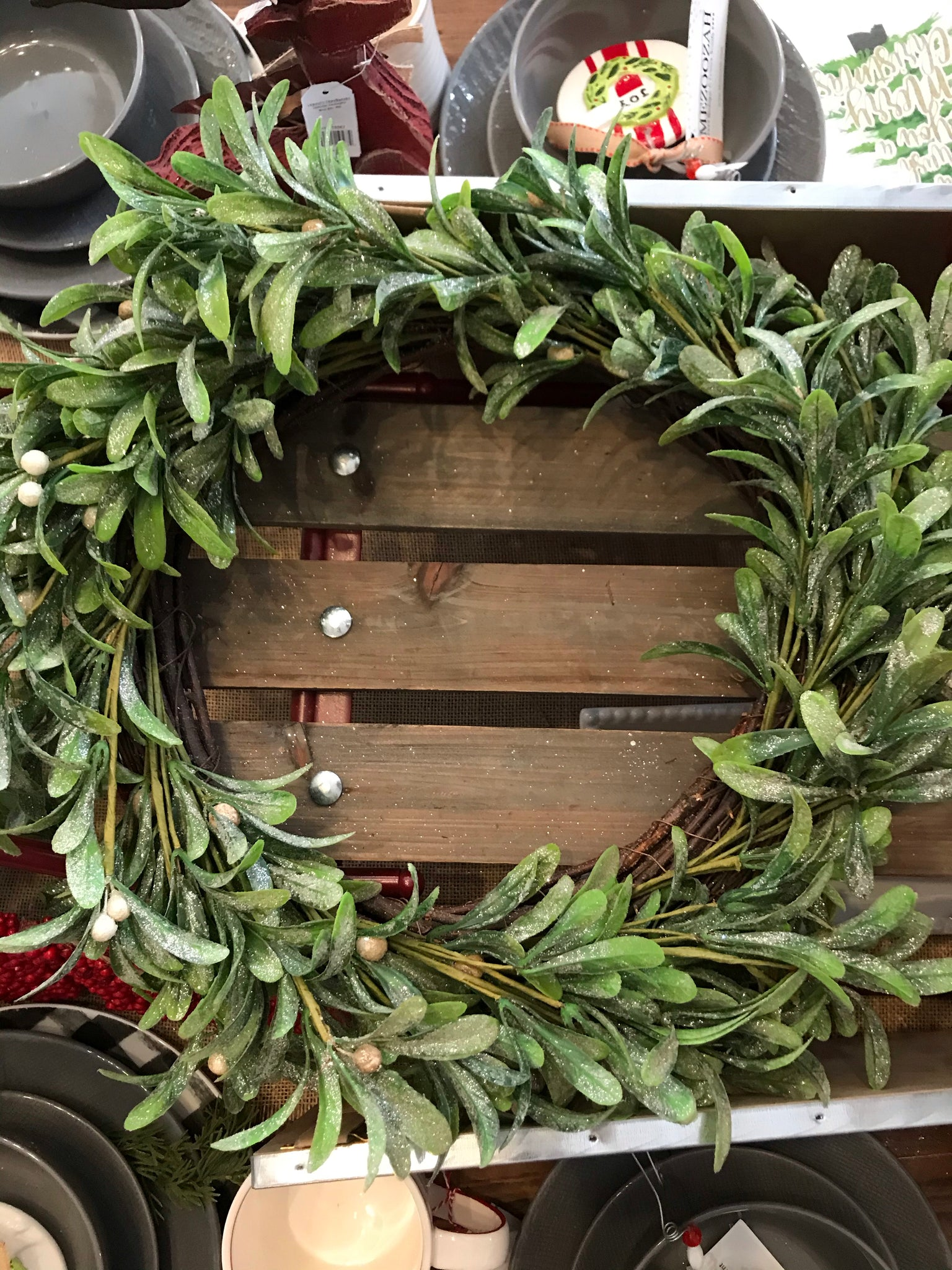 Frosted Mistletoe Wreath