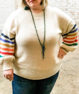 The Multicolor Banded Sleeve Sweater