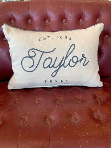 Town + Date Pillow with Piping || Taylor, Tx