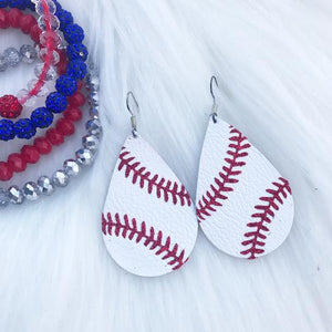 Genuine Leather Baseball Earrings