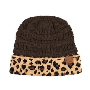Knitted Winter Leopard Beanie