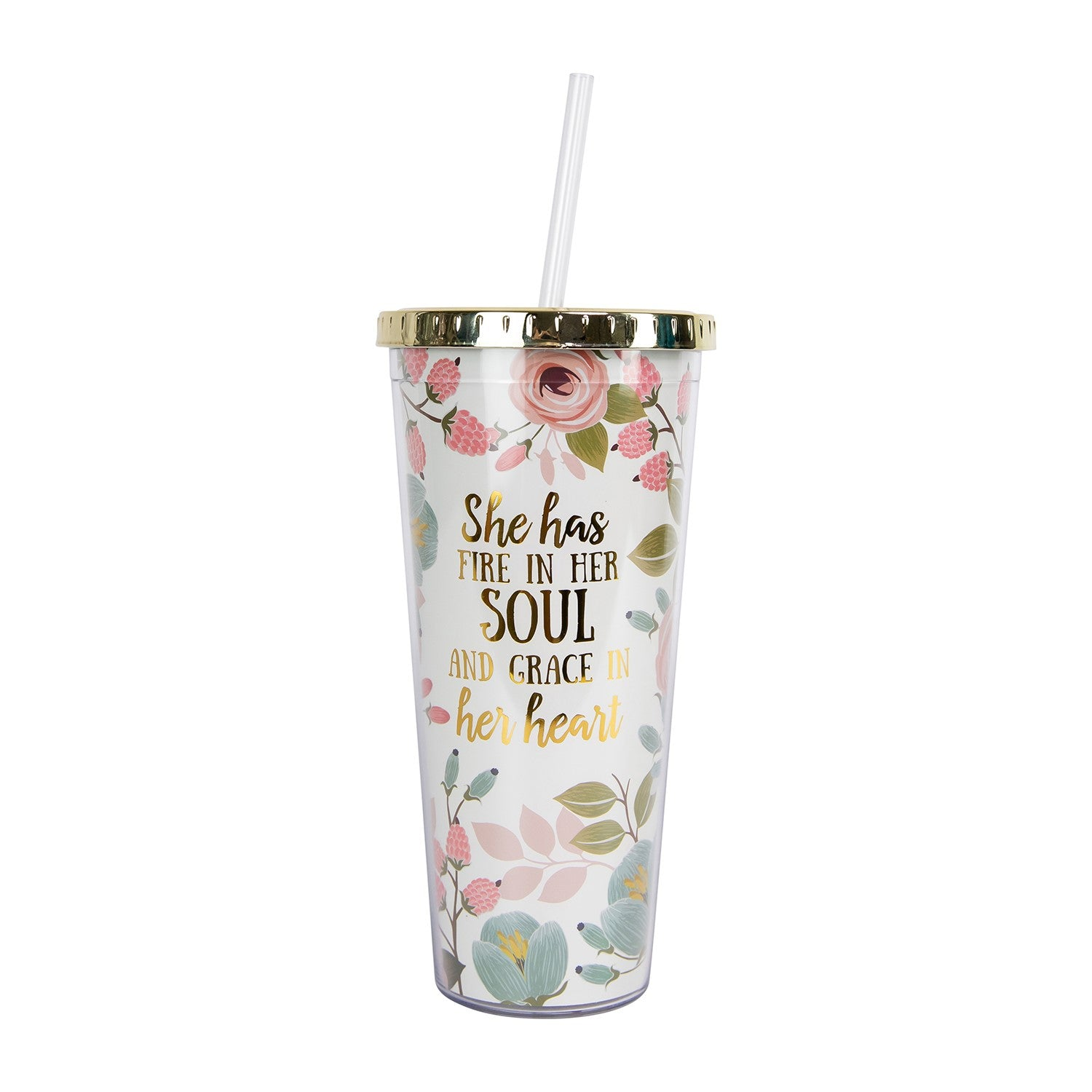 Fire in Her Soul Straw Tumbler