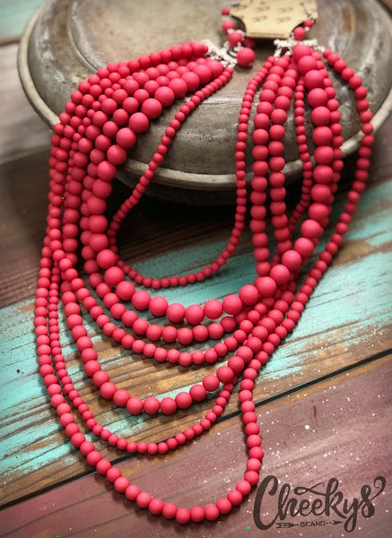 7 Strand Necklace & Earring Set
