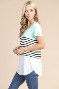 The Mint Striped Color Block Top