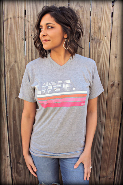 LOVE Pink Stripes Tee