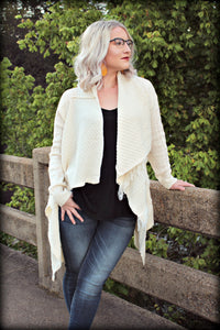 The Ivory Draped Fringe Cardigan
