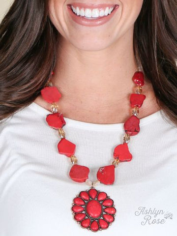 Red Stone Blossom Flower Necklace
