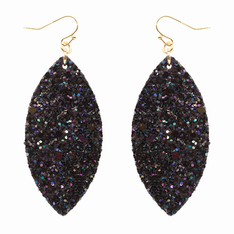 Navy and Gold Sparkle Drop Earrings