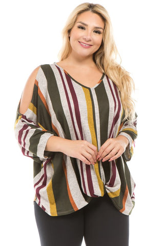 The Cold Shoulder Striped Top