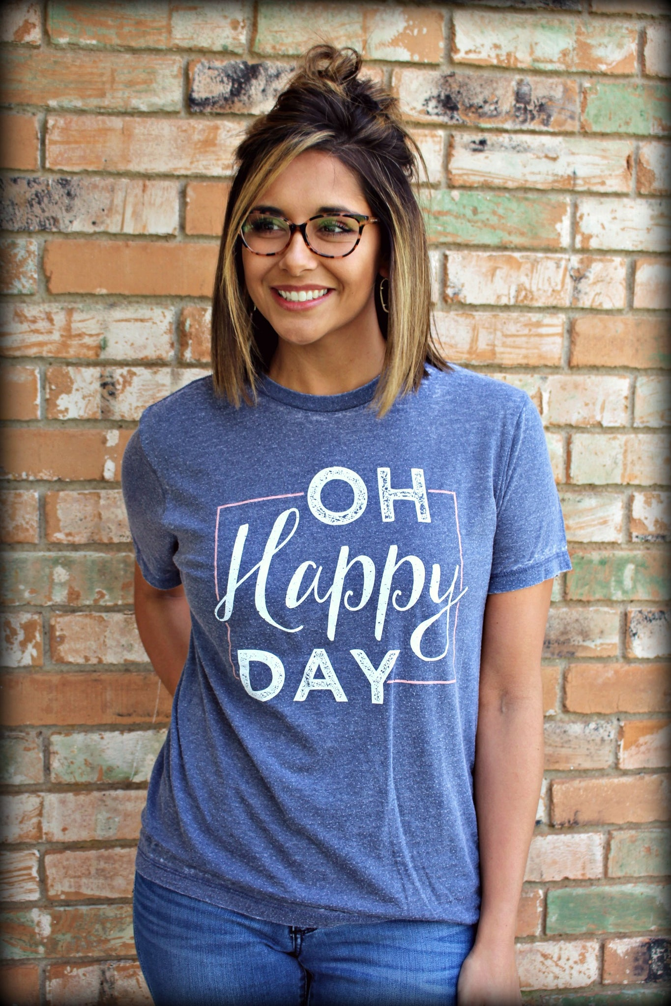 Acid Wash Oh Happy Day Tee