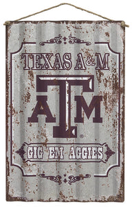 Texas A&M Distressed Corrugated Sign
