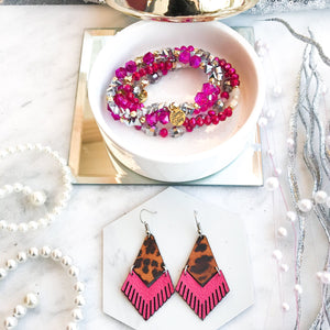 Mini Pink Tigers Eye Fringe Earrings