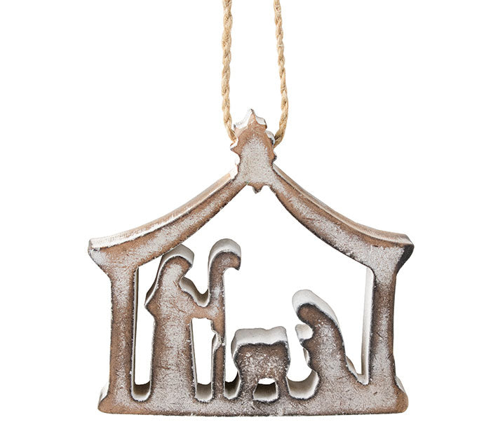 White Wood Nativity With Arch Ornament