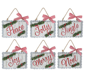 Tin Christmas Words Ornaments
