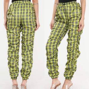 "Claire "" Plaid Ruched Joggers"""