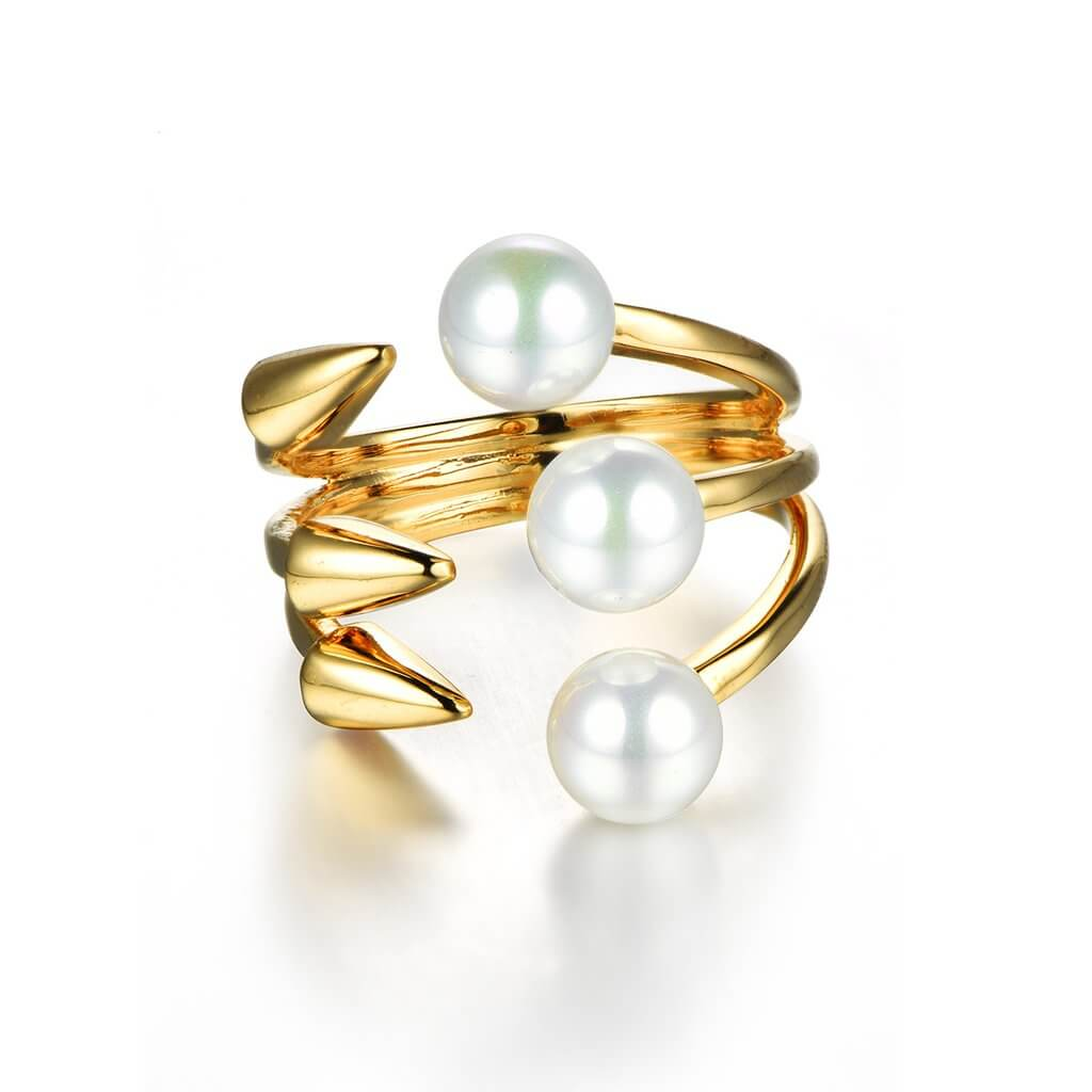Circle & Arrow Ring Gold Pearl UrbanZaveri