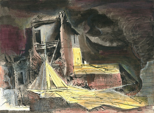 Robert Fawcett painting: 'Bomb Damage,' London