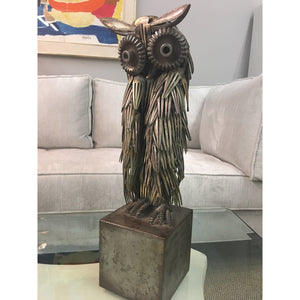 Signed Metal Owl