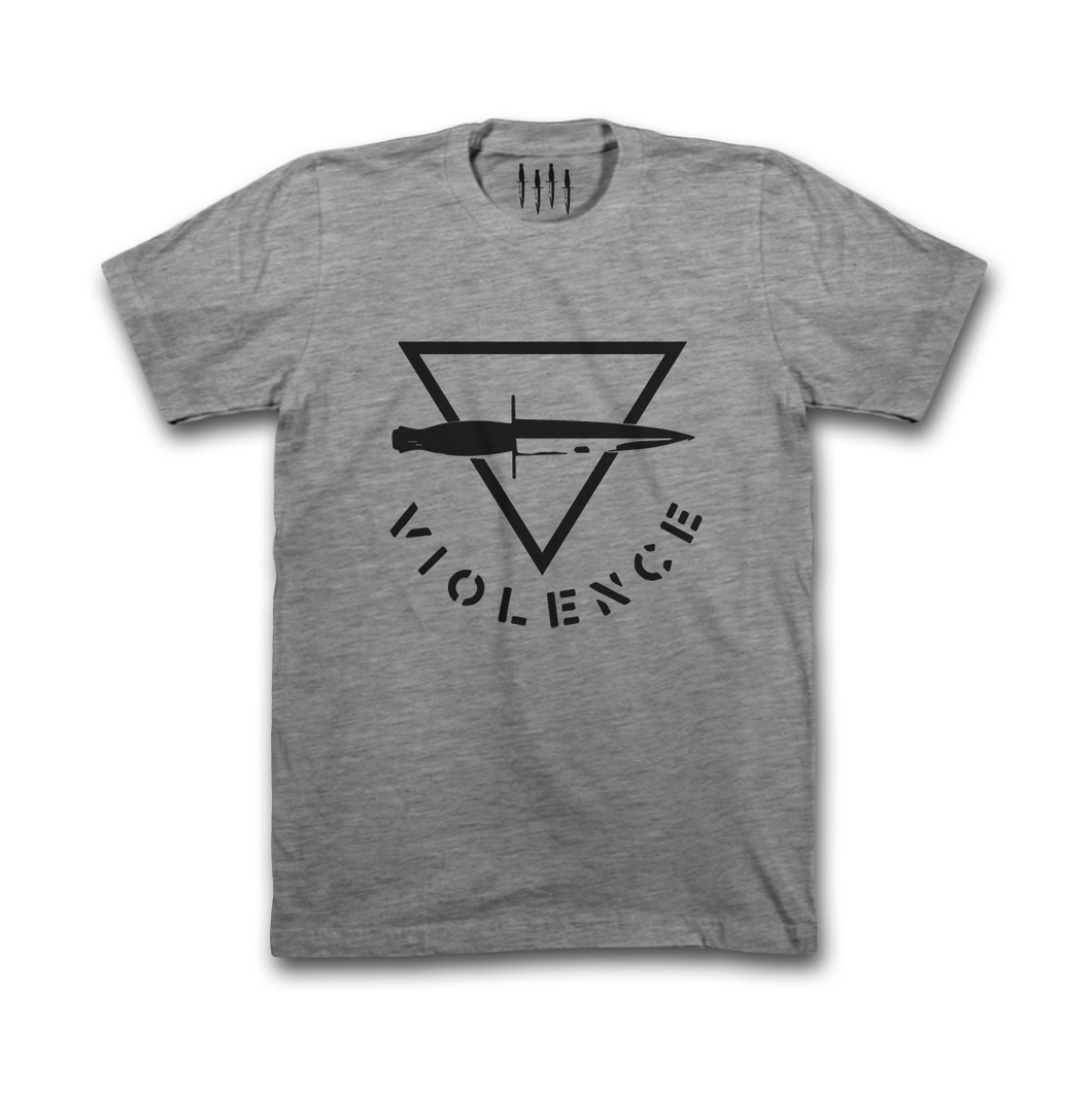 Black Triangle Violence Dark Heather Grey Shirt