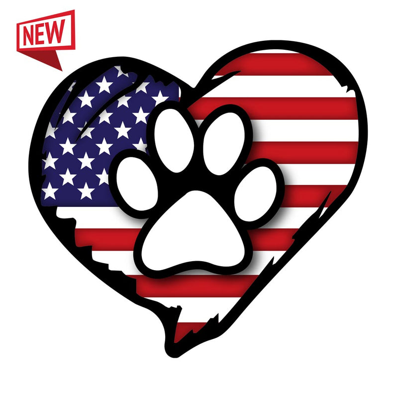American Flag Paw Decal