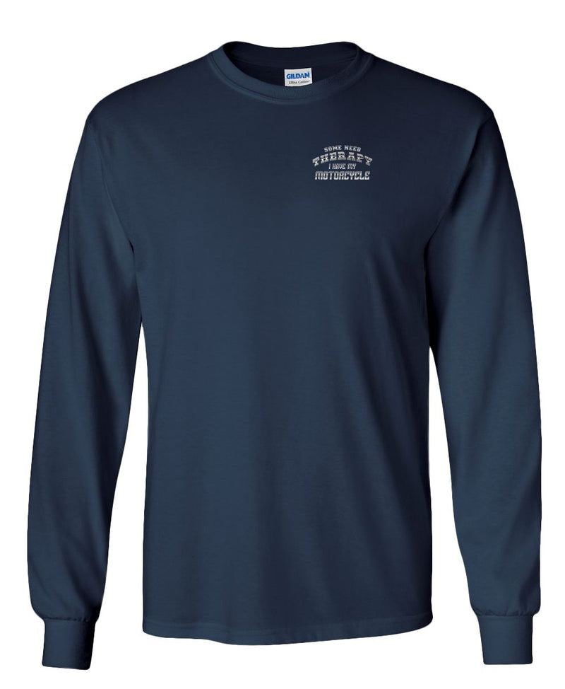 Ghost Rider- Some Need Therapy, I Have my Motorcycle Long Sleeved Shirt Navy Blue