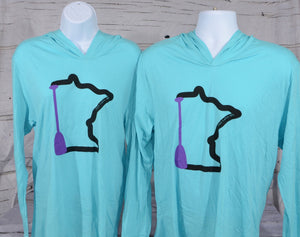 MN paddle lightweight hoodies, perfect warm weather shirt to keep the sun off your back.