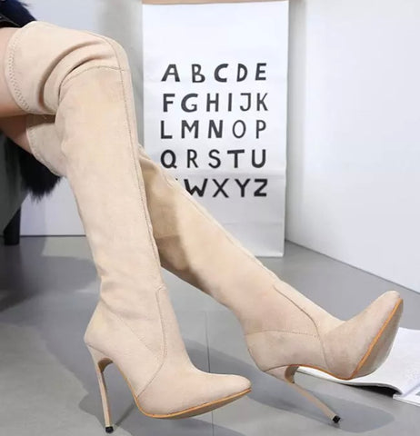 High Heel Suede Boots (Light Tan)