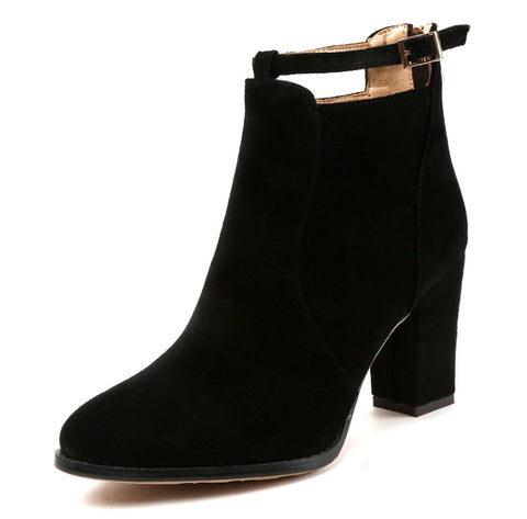 Suede Ankle Martin Boots (Black)