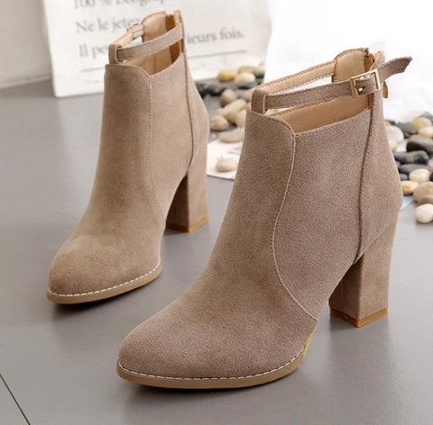 Suede Ankle Martin Boots (Beige)