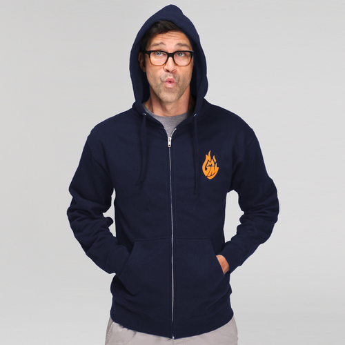 Good Mythical Morning Logo Zip Hoodie (Navy/Unisex)