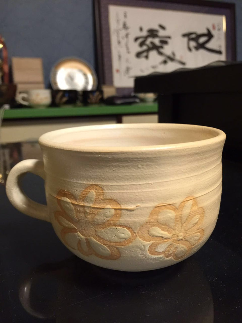 Japanese handcrafted white tea cup