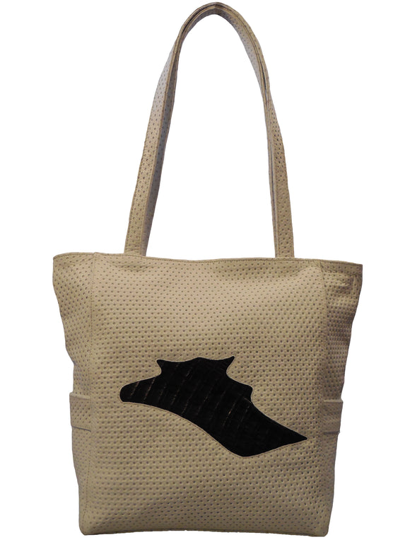 Italian Leather and Crocodile Tote Handbag