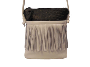 Leather & Crocodile Handbag with Fringe