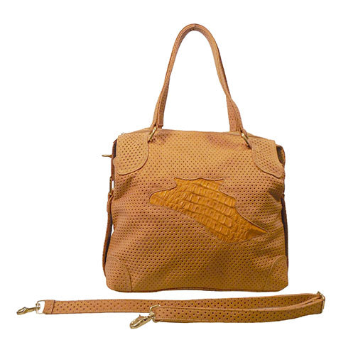 Italian Leather Handbag with Crocodile Detailing