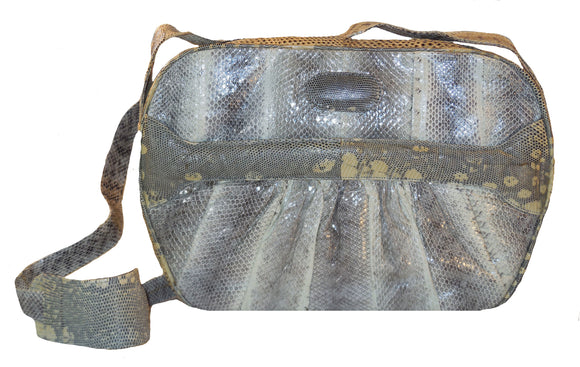 snakeskin and lizard skin handbag