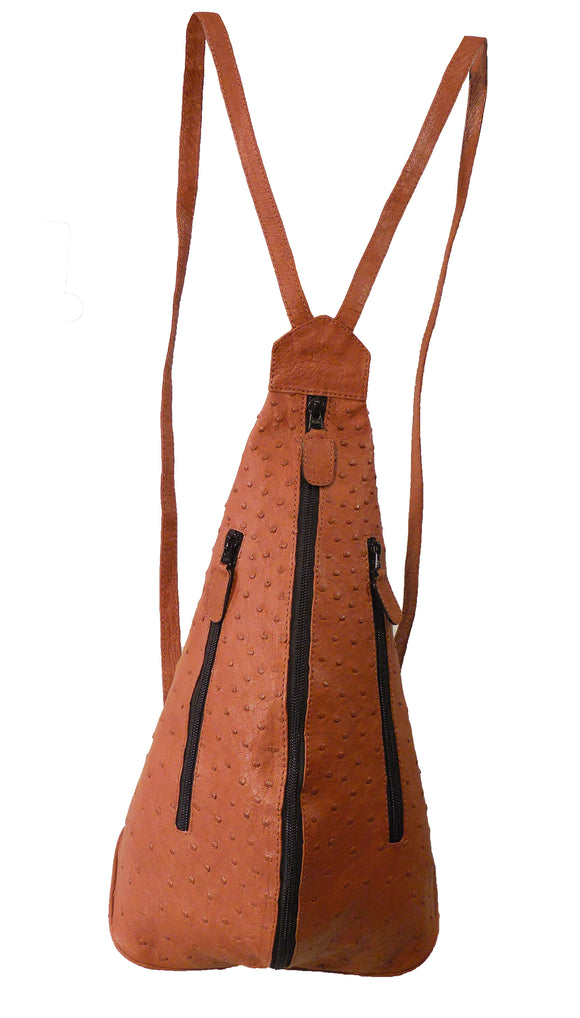 Ostrich Skin Backpack Handbag