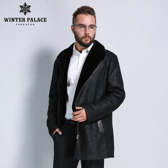 2017 fashion fur overcoat men Winter warmth sheepskin coats men Short section zipper men fur coat