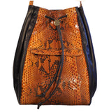 Python Snake Skin & Italian Leather draw string purse