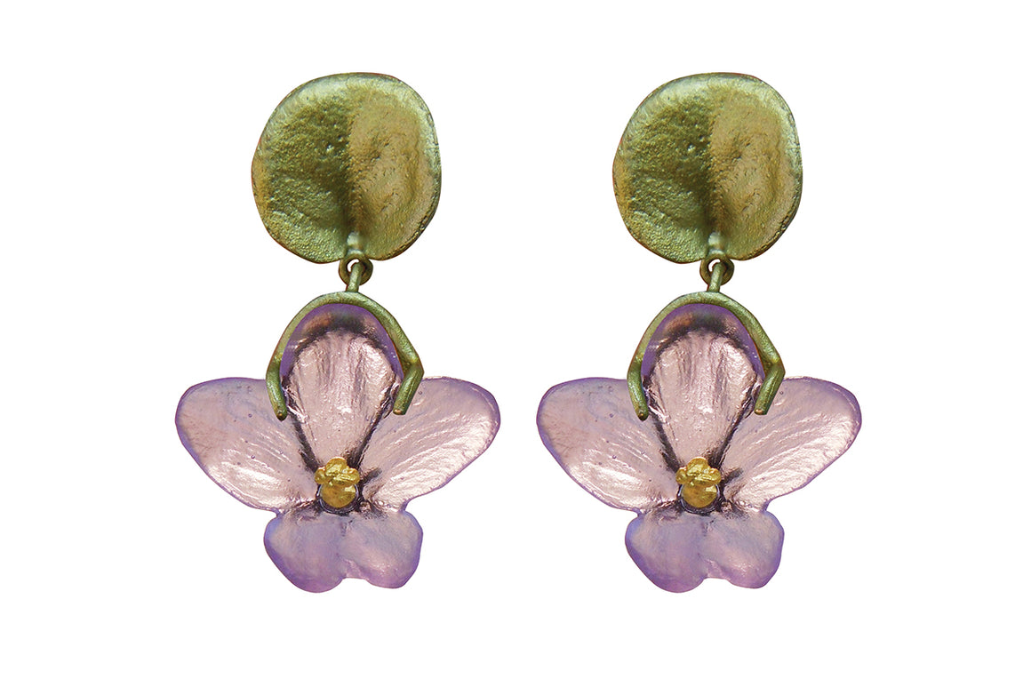 African Violet Dangle Post Earrings