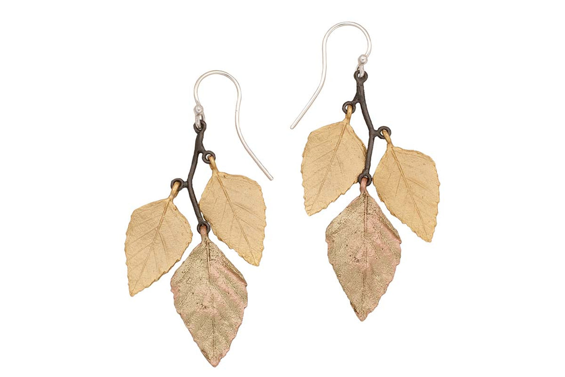 Autumn Birch 3 Leaf Wire Earrings