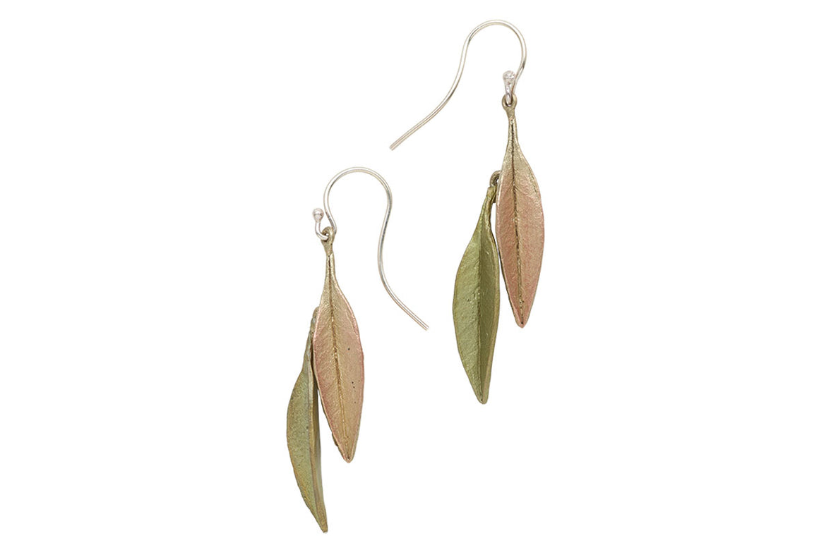 Ash Leaf Two Tone Wire Earrings