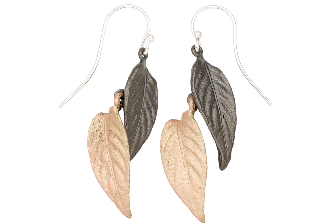 Persian Shield Two tone double leaf wire earrings
