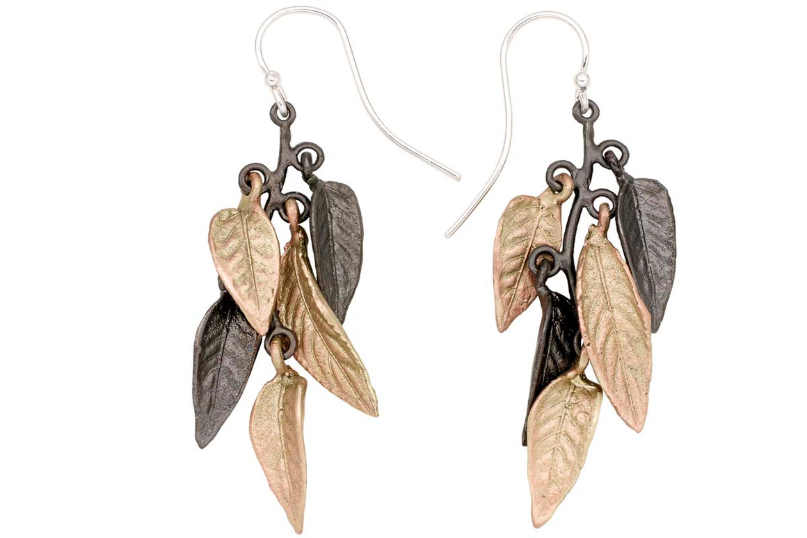 Persian Shield multi-leaf wire earrings