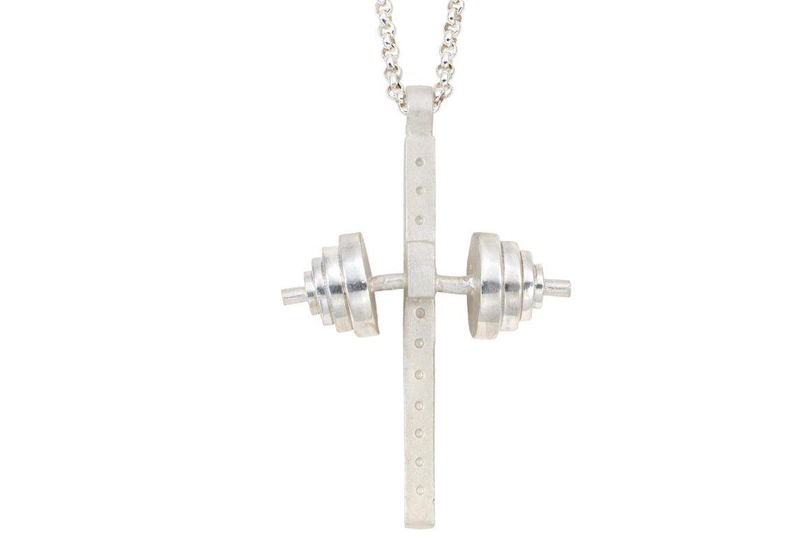 Weightlifter's Cross Pendant- Sterling Silver