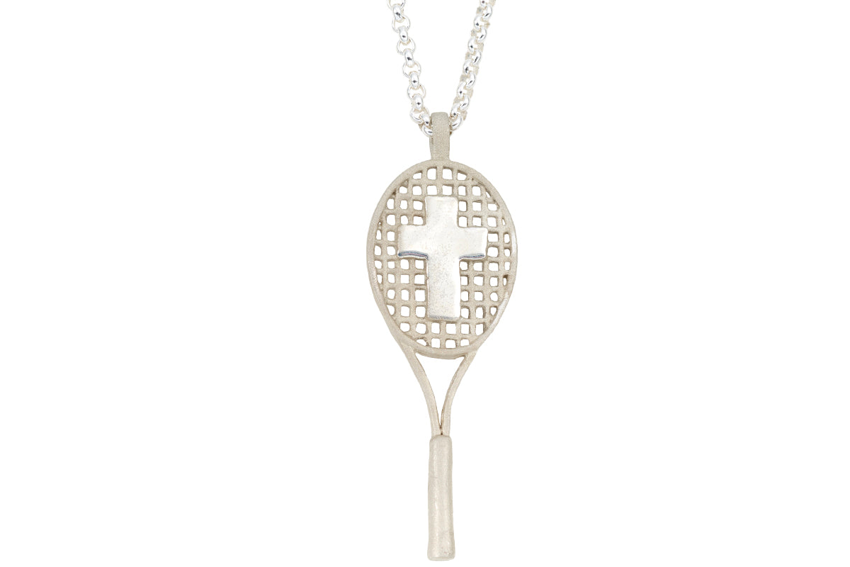 Cross tennis racket pendant sterling silver four seasons cross tennis racket pendant sterling silver mozeypictures Image collections