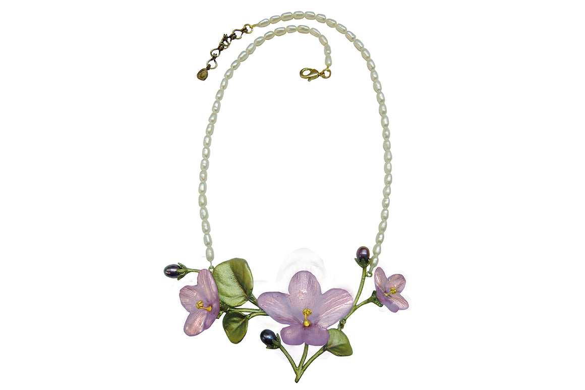 African Violet Necklace on Pearl
