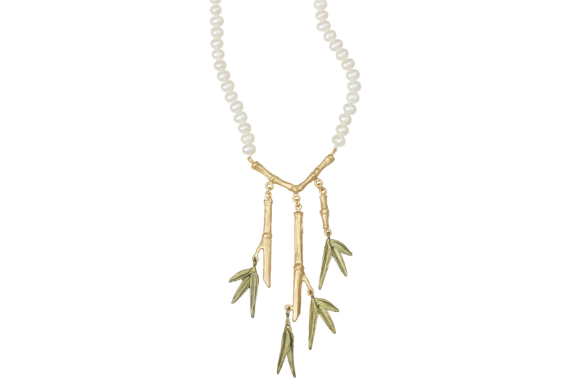 Bamboo 3-Branch Necklace on Pearl