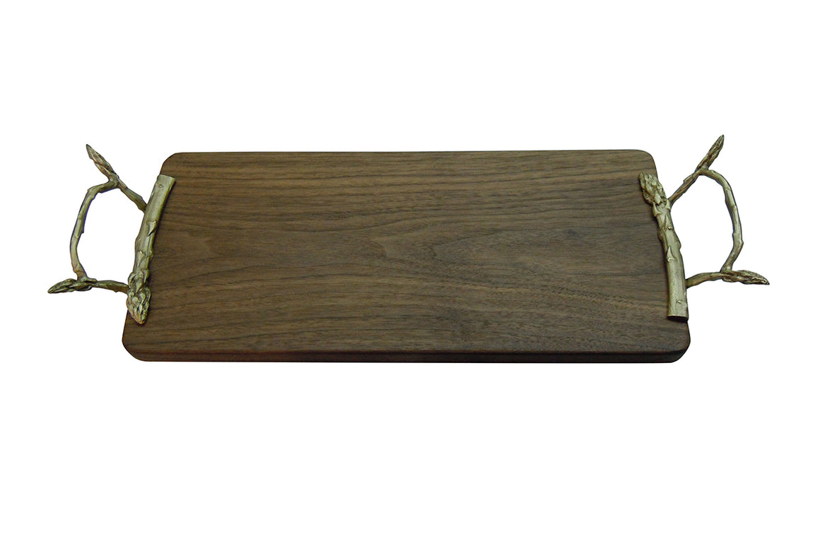 Asparagus Tray - Walnut Wood with Green Gold Handles