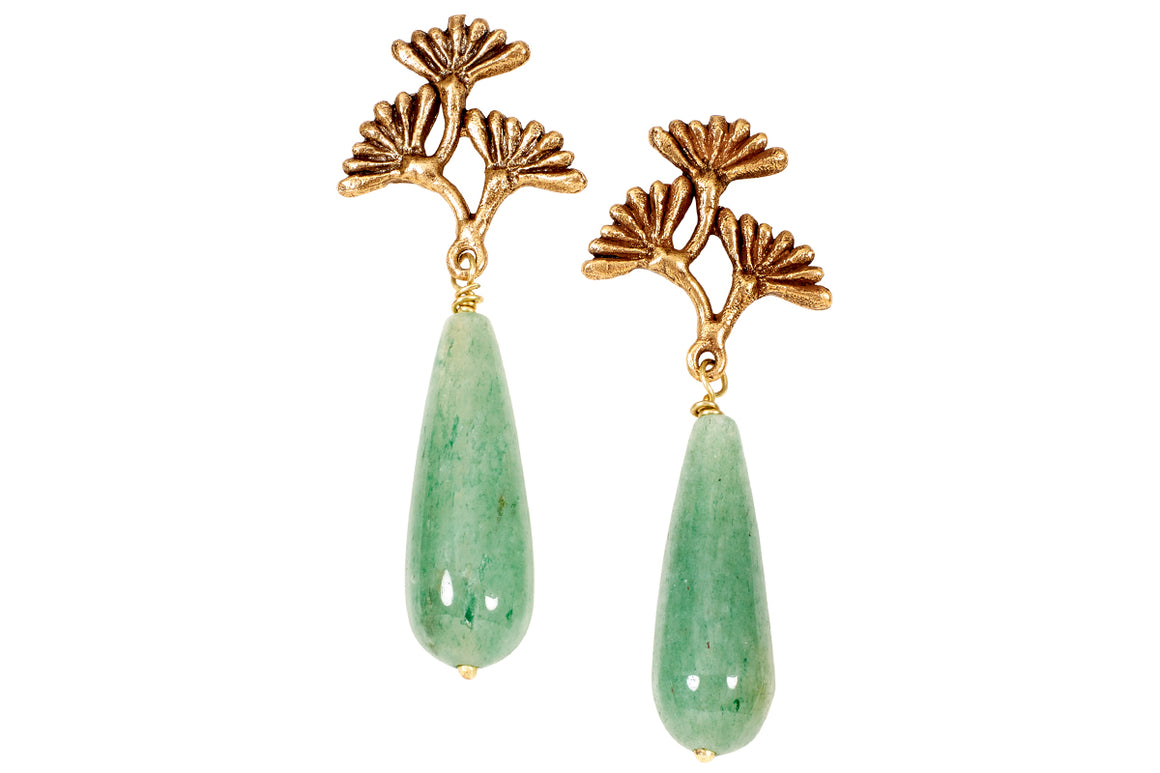 Vintage Dandelion Jade Drop Earrings